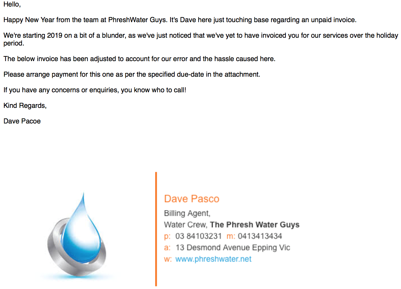 Mock email from 'The Phreshwater Guys' illustrating a possible scam email requesting payment.