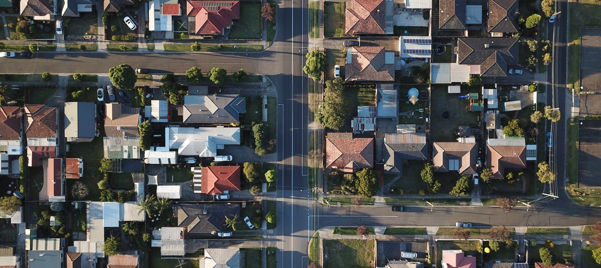 Aerial view of a Melbourne suburb