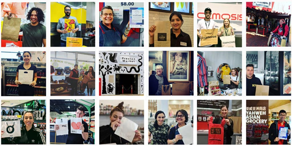 A collage of photographs of retailers sharing their efforts to use non-plastic bags in their businesses.